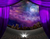 City seen through curtains in desert scene