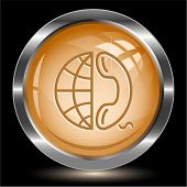 Globe and phone. Internet button. Vector illustration.