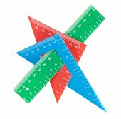 picture of protractor  - School tools multicolored triangle ruler protractor - JPG