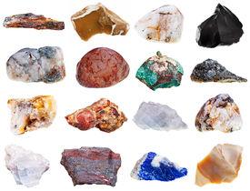 stock photo of feldspar  - set of rock minerals isolated on white background - JPG