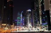 Street Downtown In Doha At Night