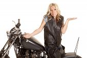 Woman Leather Sit Motorcycle Backwards Shrug