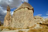 stock photo of goreme  - Probably the best known feature of Cappadocia, Turkey found in its very heart, are the fairy chimneys of Goreme and its surrounding villages