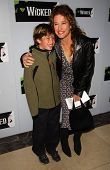 Nancy Travis and son at the opening night of the musical