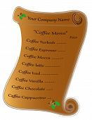 Label for coffee menu