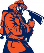 Firefighter or Fireman holding an axe