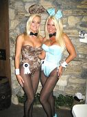 Katie Lohmann and Tina Jordan at the Milwaukee's Best Party, Playboy Mansion, Beverly Hills, CA 03-0