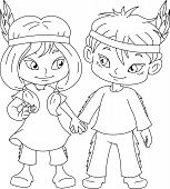 Indian Boy And Girl Holding Hands For Thanksgiving Coloring Page