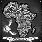 Africa Map On Vintage Handwriting Blackboard