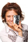 漂亮的女人和一个相机
