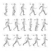 Постер, плакат: Phases of Step Movements Man in Walking Sequence for Game Animation on white