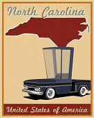 North Carolina road trip vintage poster