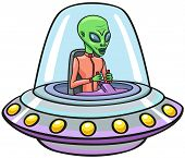 stock photo of flying saucer  - Humanoid moves on a flying saucer in space - JPG