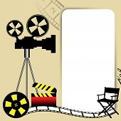 Movie projector and white frame