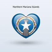 Love Northern Mariana Islands symbol. Heart flag icon.