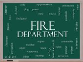 Fire Department Word Cloud Concept On A Blackboard