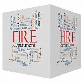 Fire Department 3D Cube Word Cloud Concept