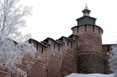 Kremlin Wall And Tower Chasovaya At Nizhny Novgorod In Winter. Russia