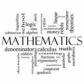 stock photo of subtraction  - Mathematics Word Cloud Concept in black and white with great terms such as fractions algebra calculus and more - JPG