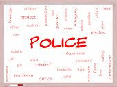 Police Word Cloud Concept On A Whiteboard