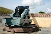 stock photo of cannon  - Cannon on the ramparts of Fort Moultrie - JPG