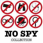 stock photo of spyware  - Collection of signs prohibiting surveillance - JPG