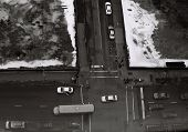 Traffic on Chicago Street In Winter (USA)