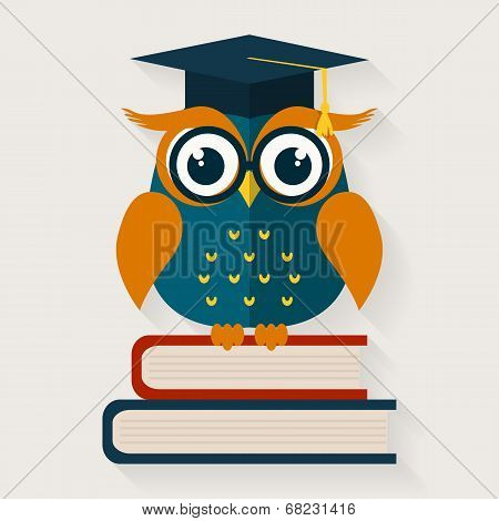 Wise Owl Sitting On The Books. Vector Illustration. poster