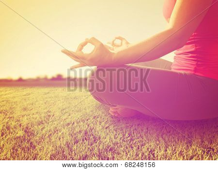 hands of a woman meditating
