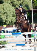 Saint Petersburg-july 05: Mikhail Atoyan On Kaprille In The Csi3*-w/csiyh1* International Jumping Gr