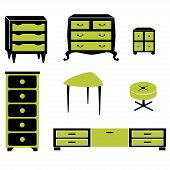 Set silhouettes of cupboard chests black interior