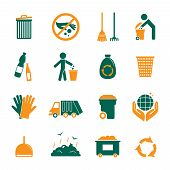 stock photo of dumpster  - Garbage trash cleaning recycling environmental symbols icons set isolated vector illustration - JPG
