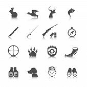 picture of wild adventure  - Set of hunting animal wild life leisure icons with reflection effect vector illustration - JPG