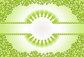 Figured Green Frame On A Light Green Background