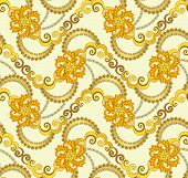 Floral Pattern In Yellow Brown Palette