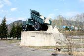 The monument of hydropower station builders in Divnogorsk near Krasnoyarsk in Russia