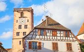 Bell tower in Riquewihr, Alsace, France