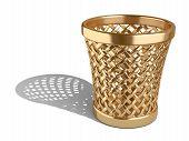 Gold Wastepaper Basket Empty