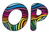 Background Skin Zebra Shaped Letter O,p.eps
