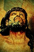 a figure of Jesus Christ in the Holy Cross, with a retro effect