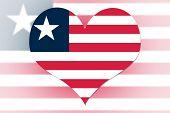 Liberia Flag Heart