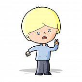 cartoon unhappy boy giving peace sign