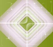 Abstract Background From Concentric Squares On A Green Background