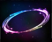 Shining neon lights cosmic abstract frame