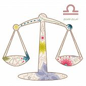 picture of libra  - vector illustration of Libra vinatge zodiac sign eps 10 - JPG
