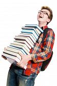 Funny student with lots of books