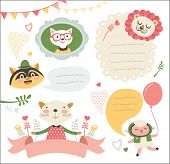 set of cute cartoon animals stickers/ gift tags