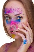 Beautiful Girl With Fashion Make Up In Colours