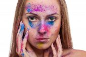 Girl With Colours Powder Fashion Make Up On White Background