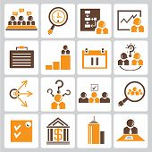 business management icons, orange color theme